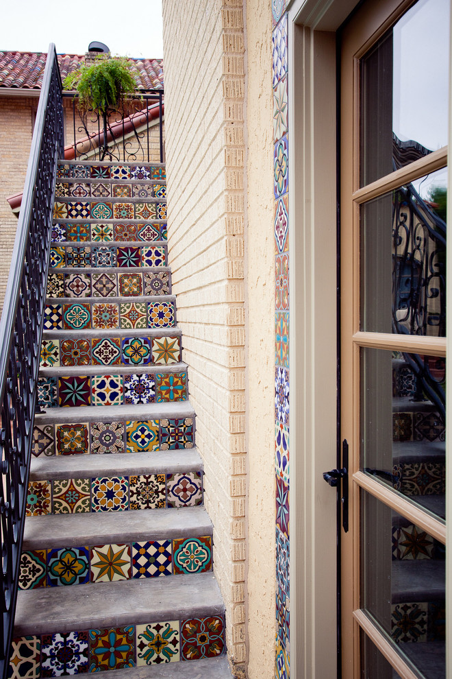Stair Treads Staircase Mediterranean with Banister Bright Colors Colorful Stairs Hand Painted Hutsell Ironwork Mediterranean Style Staircase