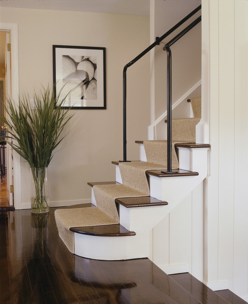 Stair Treads Carpet Staircase Contemporary with Carpet Runner Dark Floor Grasses Metal Banister Natural Rug Photography Staircase Carpet