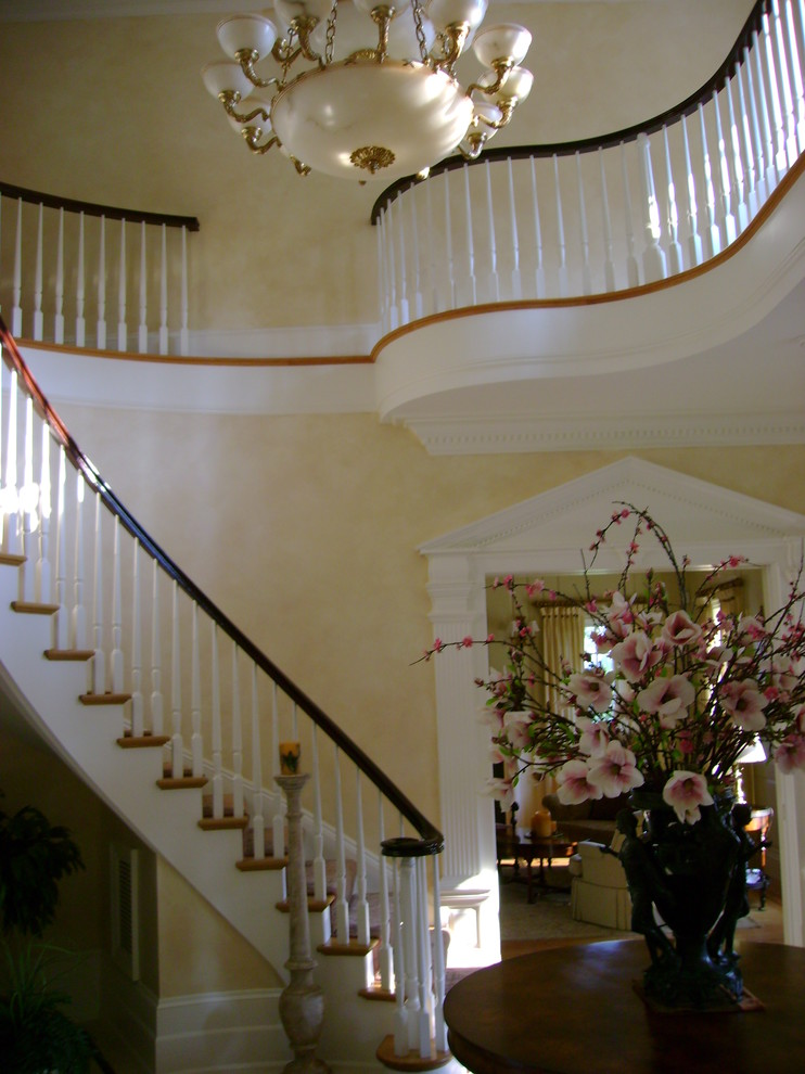Stair Treads Carpet Staircase Traditional with Aged Walls Classic Design Elegant Faux Finish Foyer Glazed Walls Grand Old World