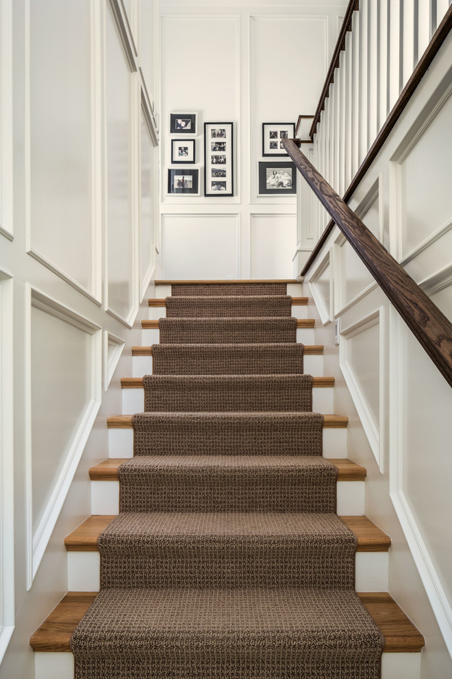 Stair Treads Carpet Staircase Traditional with Black and White Photography Brown Runner Recessed Panel Rug Stair Runner Straight