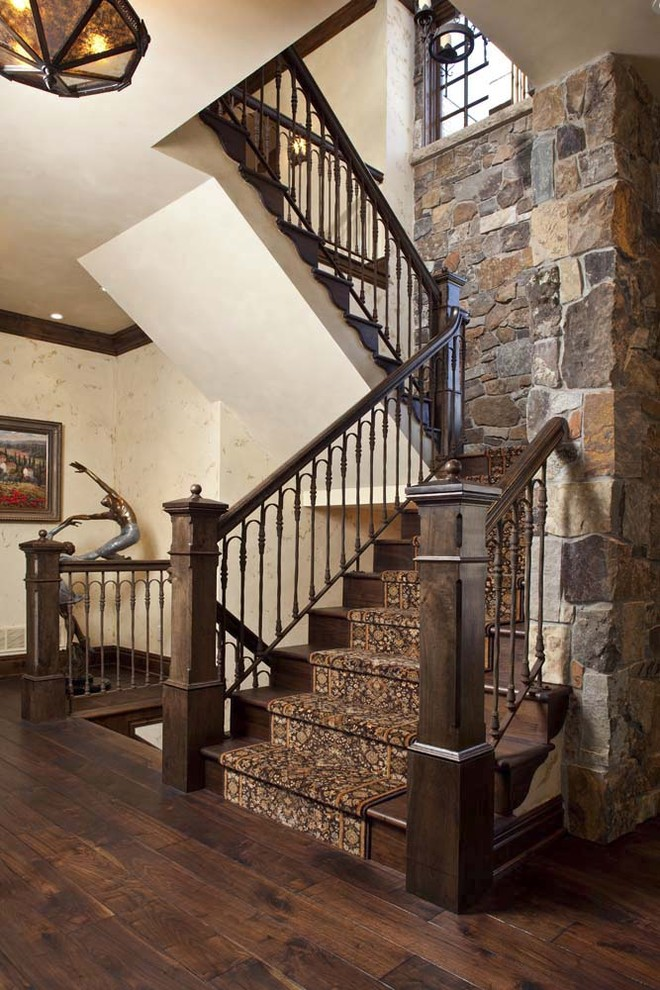 Stair Treads Carpet Staircase Traditional with Cream Walls Dark Tone Wood Pendant Light Recessed Ceiling Lighting Sculpture Stacked