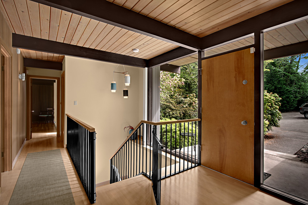 Stairway Gate Entry Midcentury with Exposed Beams Fixed Window Midcentury Midcentury Modern Picture Window Sidelights Stair Gate