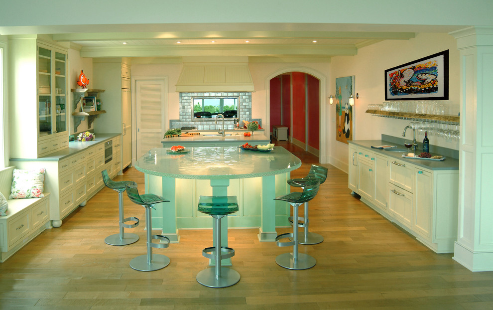 Stairway Gate Kitchen Contemporary with Glass Counter Glass Counters Glass Countertop Glass Island Glass Island Countertop Glass