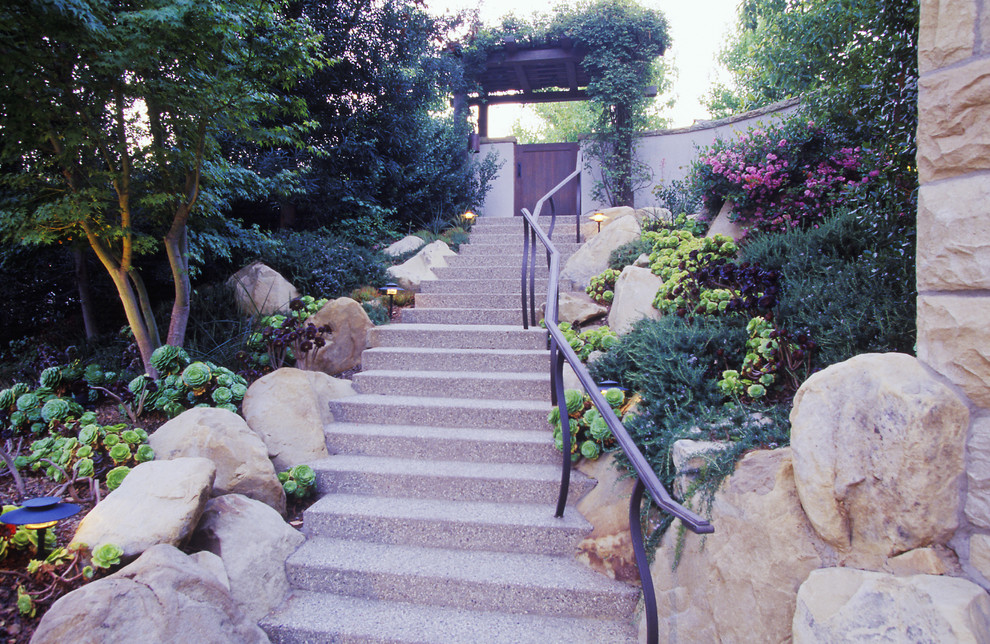 Stairway Gate Landscape Traditional with Gate Gate with Trellis Iron Railing Stairway to Entrance Stairway to Gate