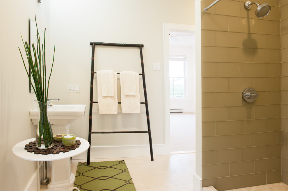 Standing Towel Rack Bathroom Contemporary with Bamboo Bath Mat Beige Floor Beige Tile Wall Glass Vase Ladder Towel