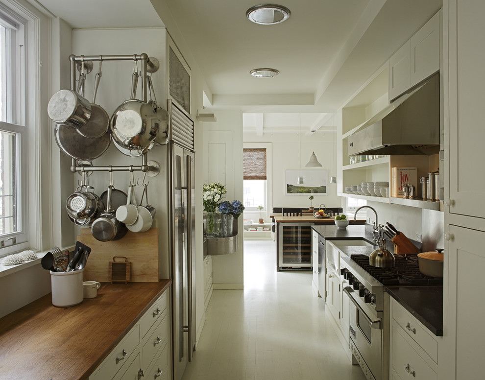 Steamer Pot Kitchen Modern with Black Countertop Framed Cabinetry Kitchen Cabinets Open Shelving Painted Floors Recessed Lighting