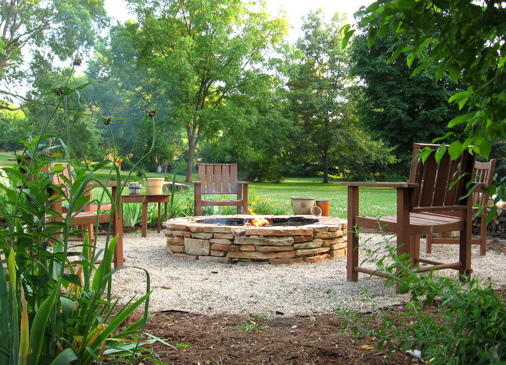 steel fire pit ring Landscape Contemporary with charming DIY fire pit firepit grass gravel lawn Outdoor patio furniture rugged