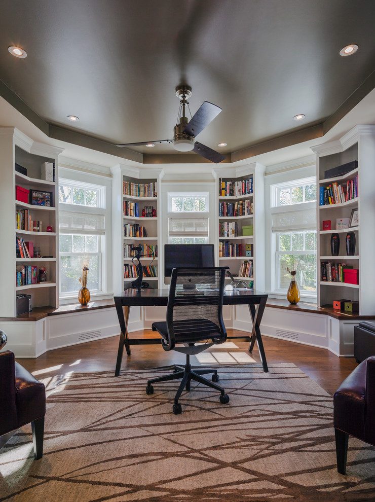Steelcase Furniture Home Office Traditional with Area Rug Built in Shelves Ceiling Fan Ceiling Lights Dark Ceiling Eco Friendly Freestanding