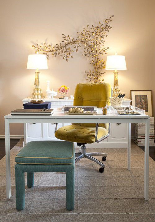 Steelcase Leap Chair Home Office Shabby Chic with Area Rug Dark Floor Desktop Gold Lamps Gold Leaves Mustard Neutral Colors
