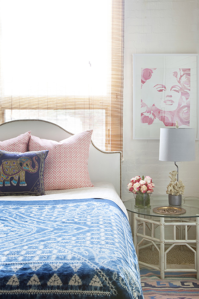 Stein World Furniture Bedroom Eclectic with Artwork Bed Pillows Bedside Table Global Marilyn Monroe Mixed Prints Nail Head
