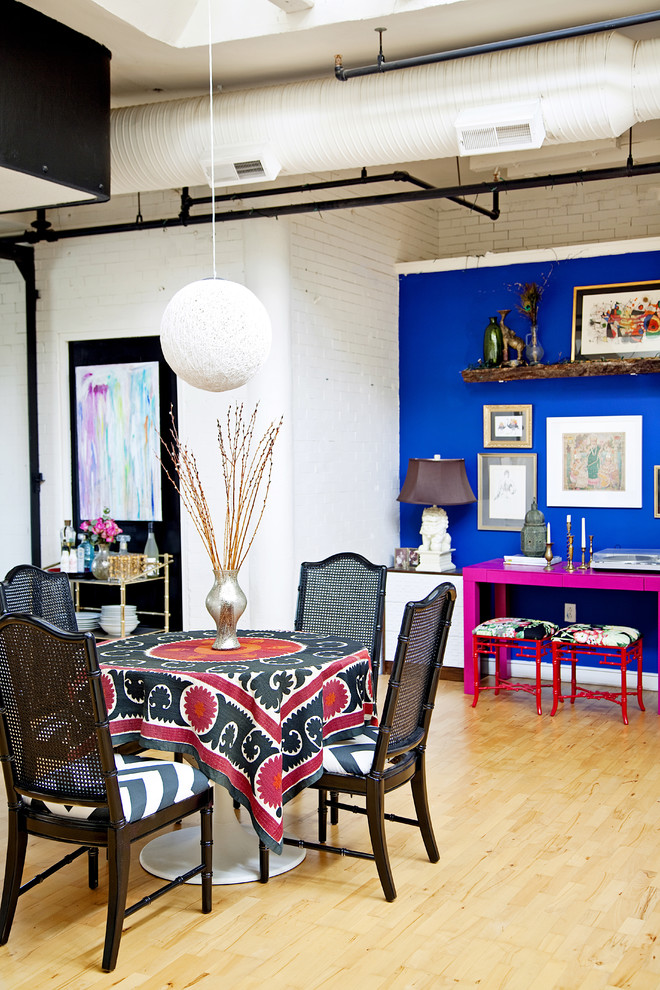 stein world furniture Dining Room Eclectic with accent wall black chair blue paint blue wall brick wall CEILING LIGHT