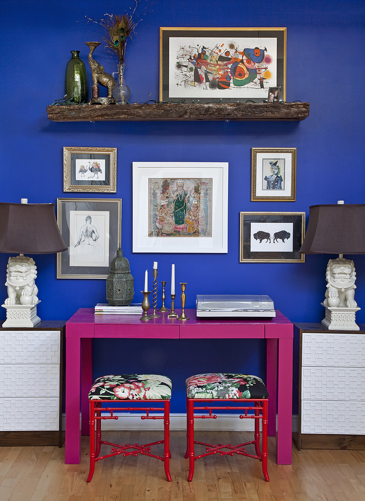 stein world furniture Home Office Eclectic with Art blue paint blue wall color fabric pink Pink Desk red stool