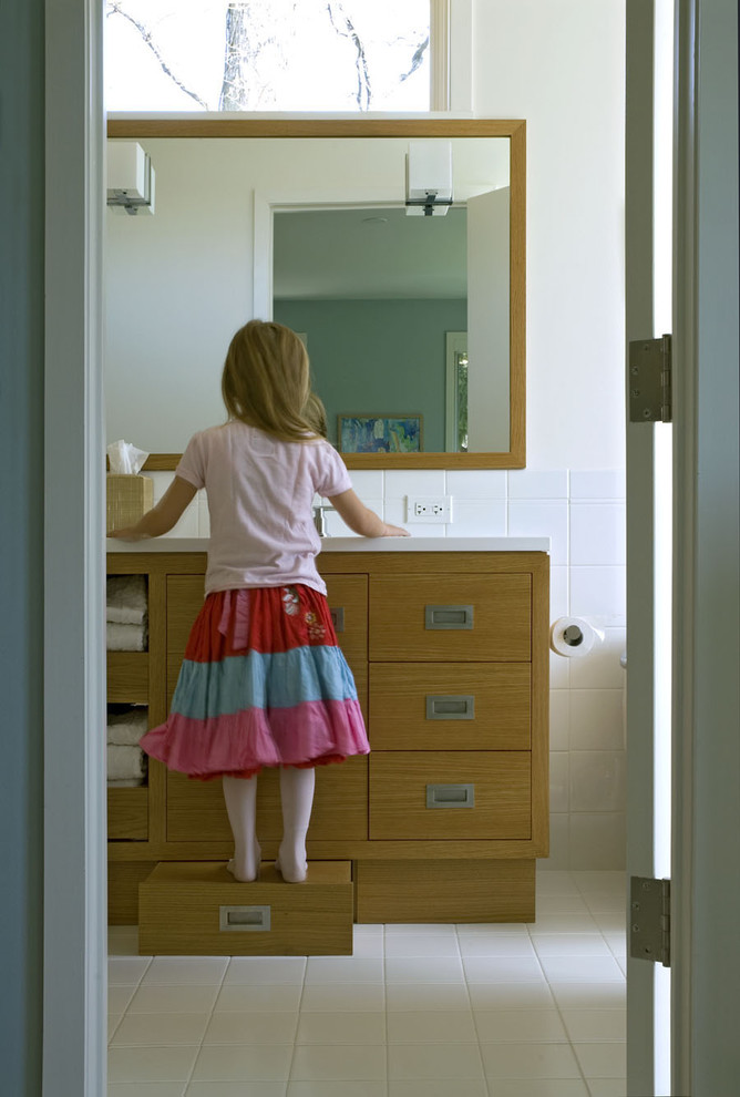 step stool for kids Bathroom Contemporary with child size Corian oak step stool