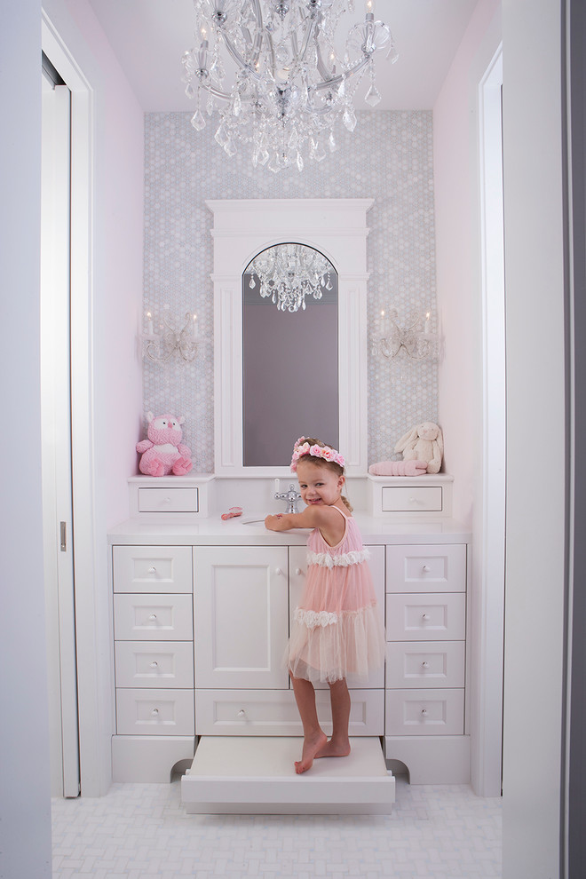 Step Stool for Kids Bathroom Traditional with Arched Mirror Basketweave Floor Tile Built in Step Stool Chandelier Framed Mirror