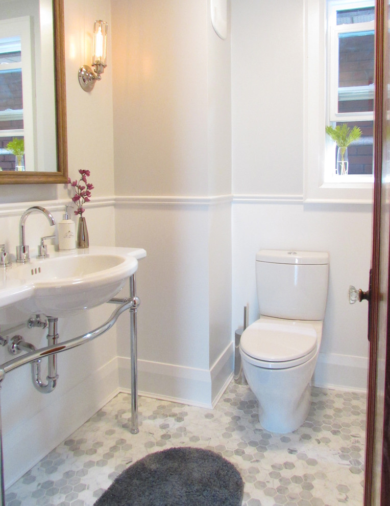 sterling silver flatware Bathroom Beach with baseboard chair rail gray floor gray tile floor hexagon tile lever faucet
