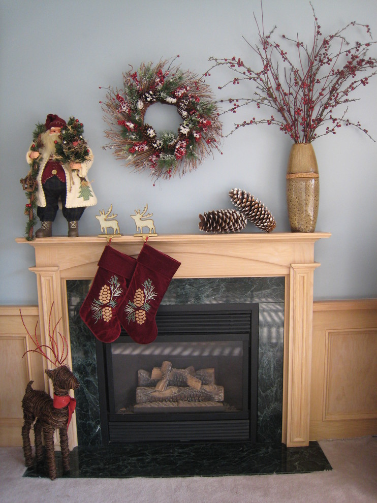 Stocking Holders Family Room Traditional with Berries Blue Burgundy Christmas Dogwood Fireplace Gold Green Mantel Pine Cones Red