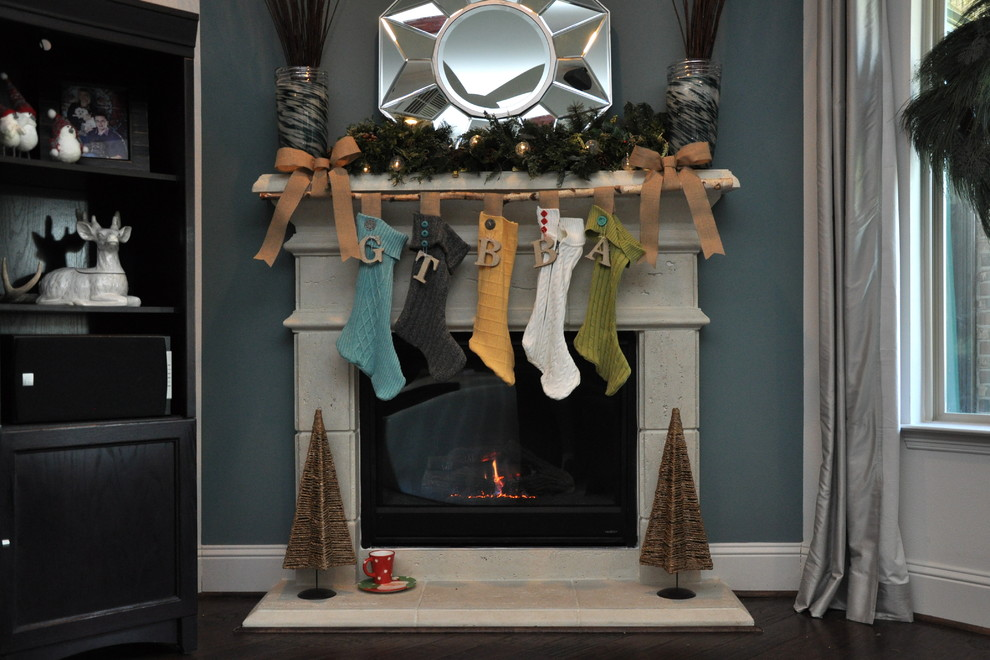 Stocking Holders Living Room Eclectic with Antique Ribbon Ash Branch Burlap Ribbon Buttons Cast Stone Fireplace Hearth Knit