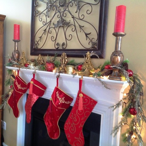 Stocking Holders Living Room Traditional with Candles High Point Nc Mantle Red Pillar Candles Stocking Stocking Holders