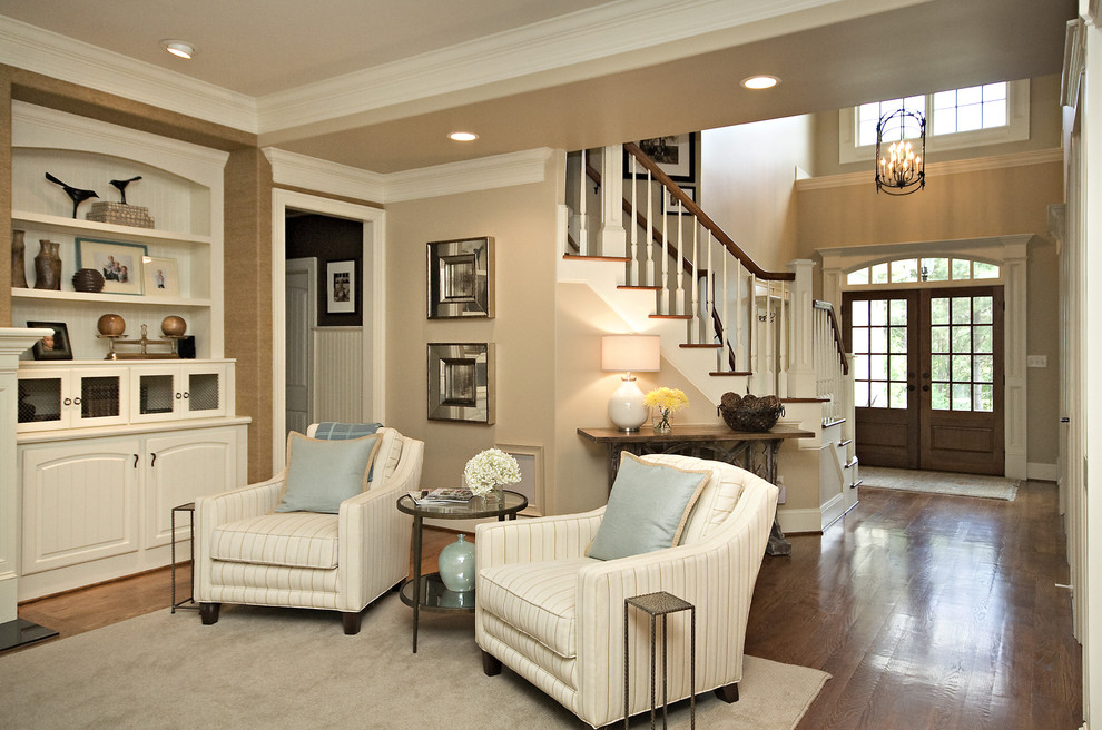 Stoneware Dinnerware Sets Family Room Traditional with Area Rug Built in Shelves Ceiling Lighting Crown Molding Entrance Entry Hutch Lanterns
