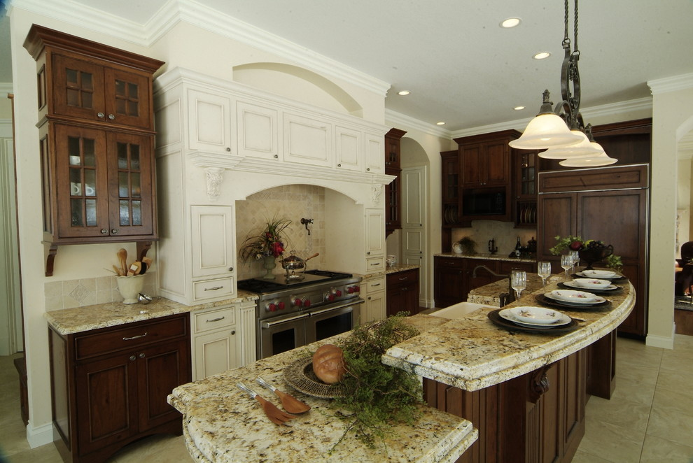 stoneware dinnerware sets Kitchen Traditional with breakfast bar cabinet front refrigerator ceiling lighting crown molding eat in kitchen
