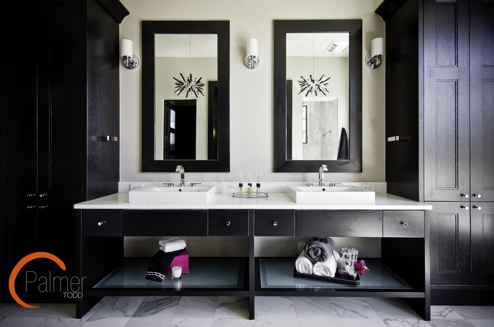 storage armoire Bathroom Modern with built in Cabinetry dark vanity marble floor modern bathroom modern sink open
