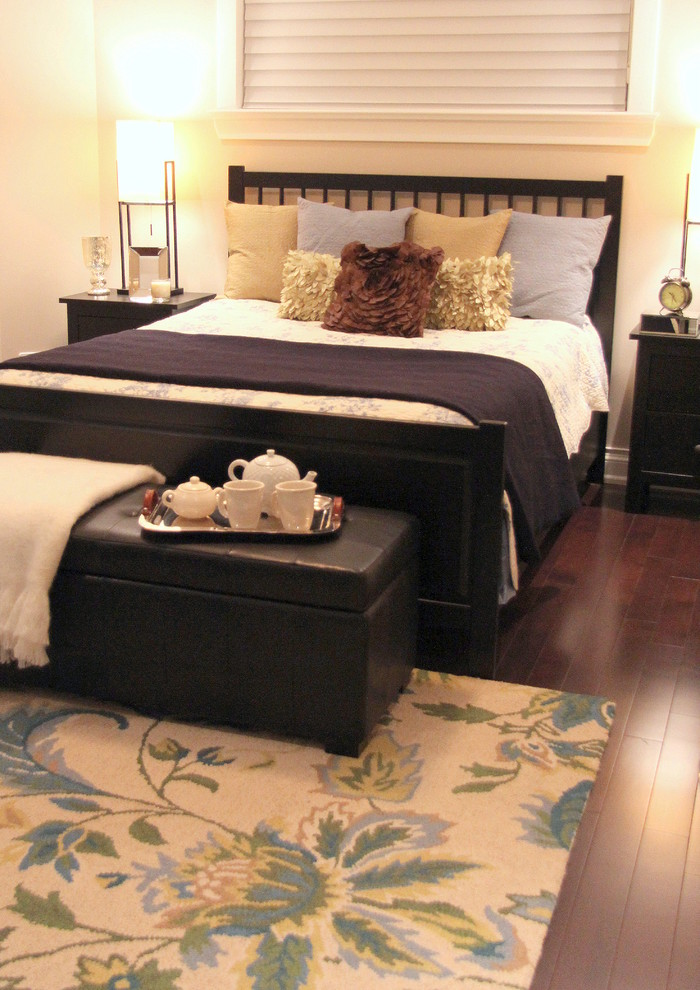 Storage Ottoman with Tray Bedroom Contemporary with Basement Bedside Lamp Bedside Table Blue Brown Flower Rug Foot of Bed