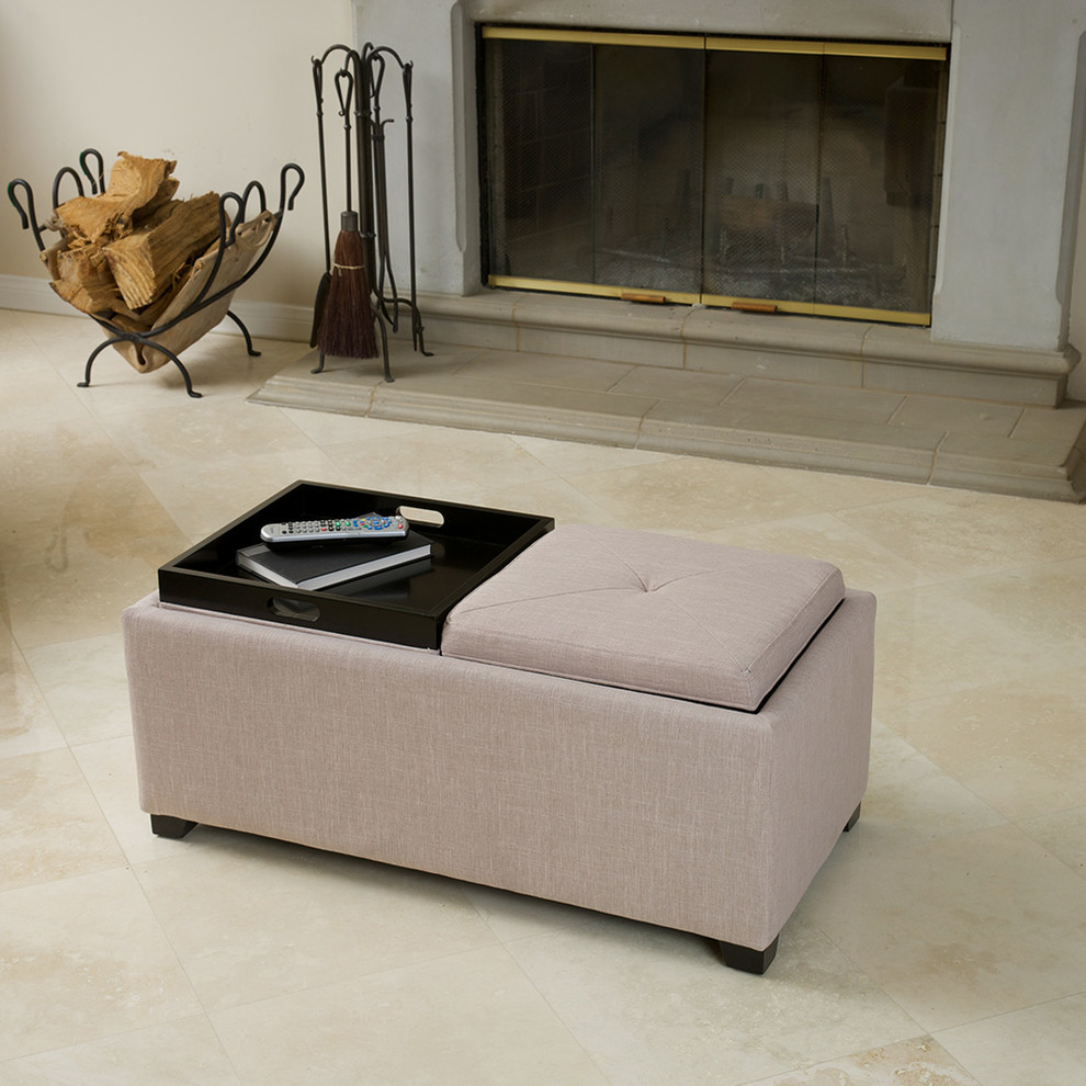 Storage Ottoman with Tray Living Room Contemporary with 2 Tray Top Storage Ottoman Beige Fabric Kenwell Coffee Table