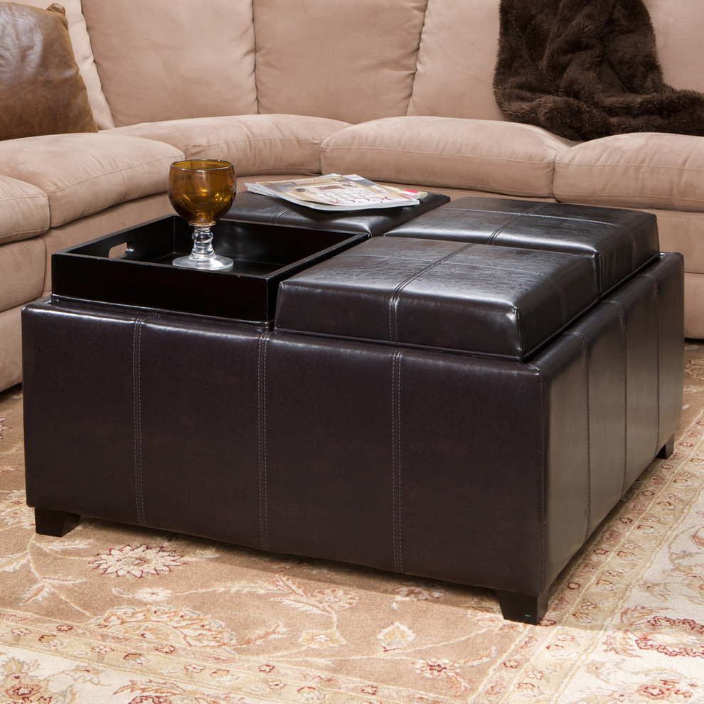 Storage Ottoman with Tray Living Room Contemporary with Bonded Leather Coffee Table Espresso Storage Ottoman Tray Top