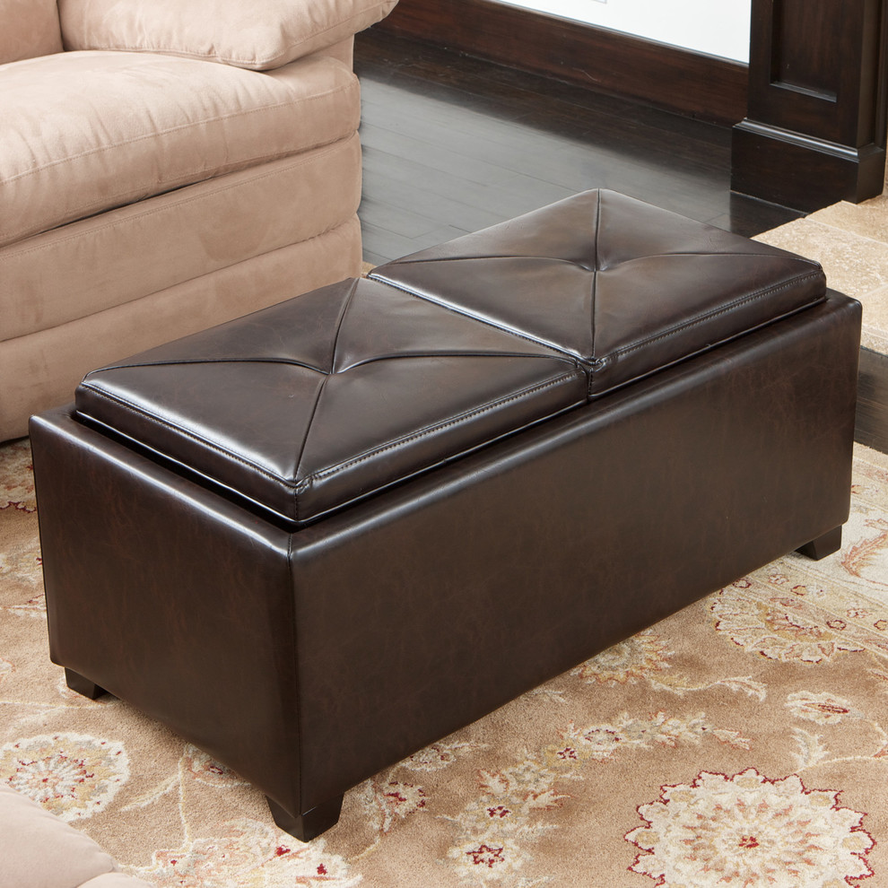 Storage Ottoman with Tray Spaces Contemporary with Bonded Leather Brown Contemporary Living Space Living Room Ottoman Storage Ottoman Tray