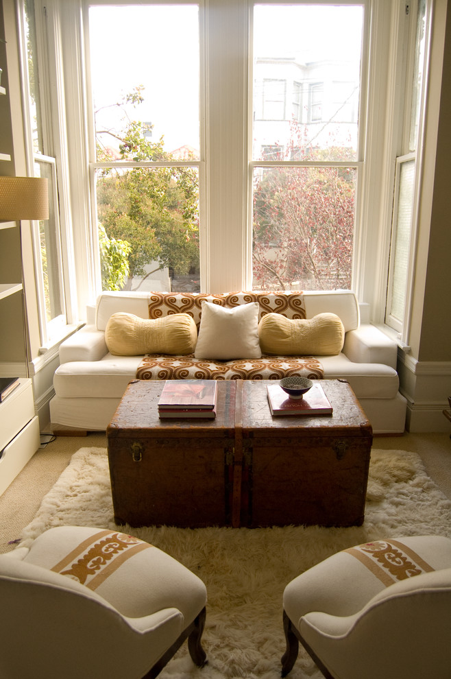 Storage Trunks Living Room Victorian with Alcove Area Rug Bay Window Burnt Orange Decorative Pillows Double Hung Windows