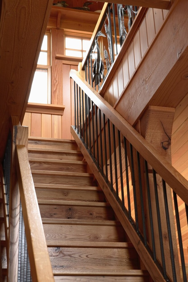 Stork Craft Staircase Eclectic with Balusters Custom Railing Iron Work Metal Spindles Natural Wood Rough Hewn Wood