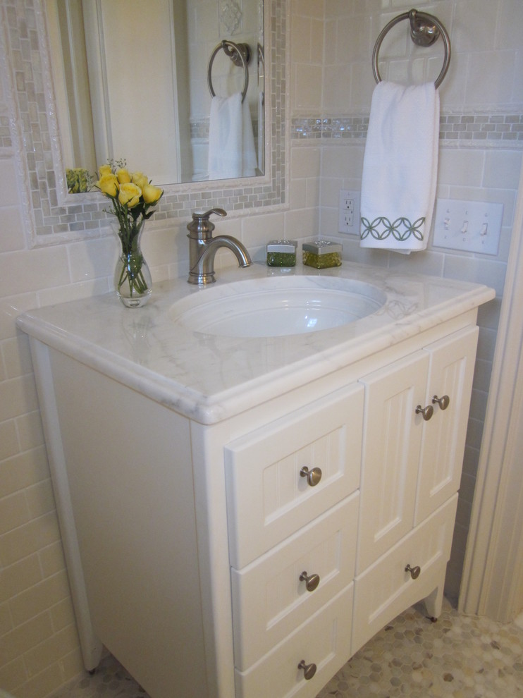 strasser woodenworks Bathroom Traditional with accessories countertop faucet Kohler faucet long island Long Island Interior Designer mirror