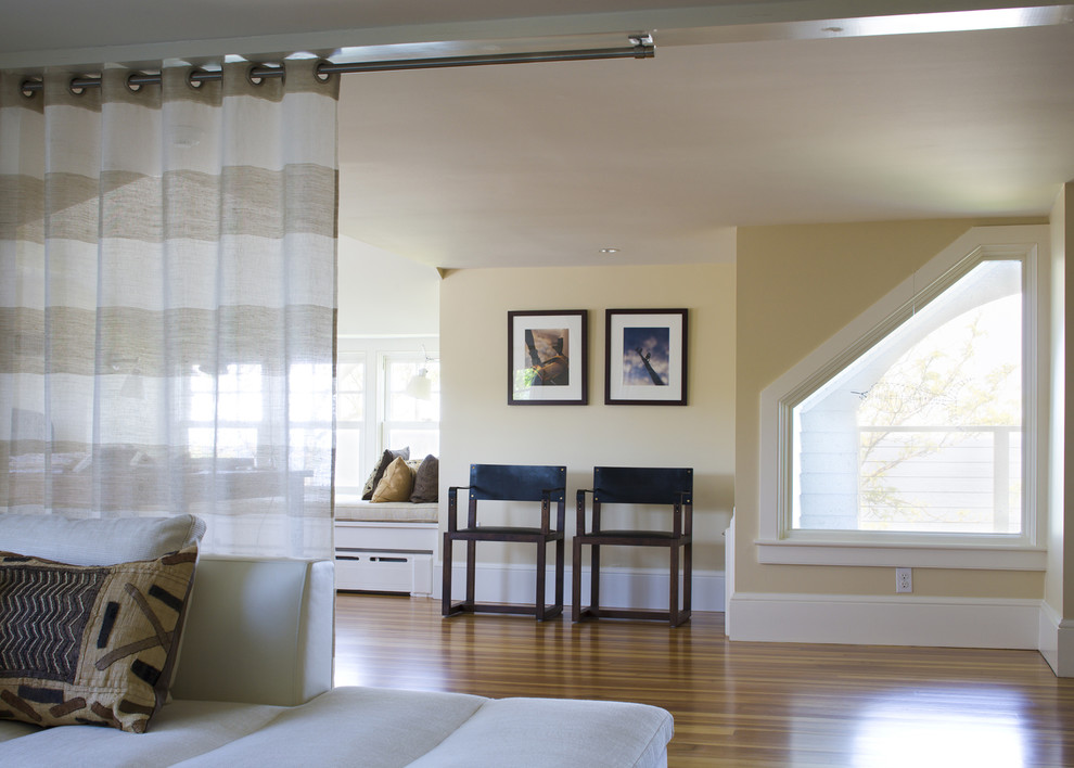 Strip Curtains Family Room Beach with Angled Window Beige Bench Seat Ceiling Mounted Curtain Curtain Curtain Rod Guest