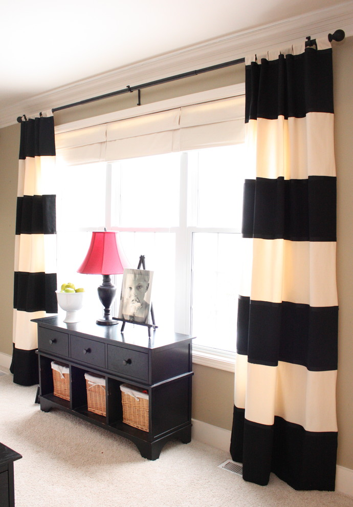 Strip Curtains Family Room Traditional with Baseboards Console Table Crown Molding Curtains Drapes Horizontal Stripes Neutral Colors Storage