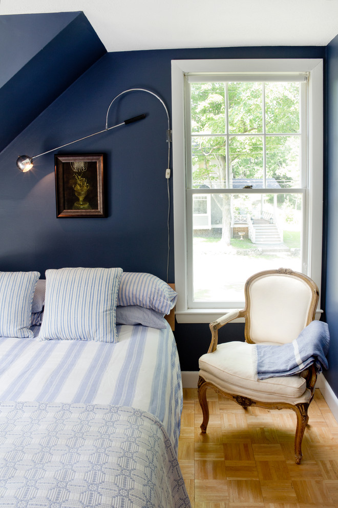 Striped Bedding Bedroom Beach with Baseboards Dark Walls Louis Chair Navy Blue Walls Parquet Floor Reading Lamp