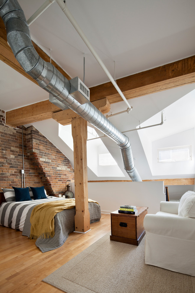 Striped Bedding Bedroom Industrial with Beige Rug Exposed Brick Exposed Ducts Exposed Ductwork Exposed Wood Gray Bedding