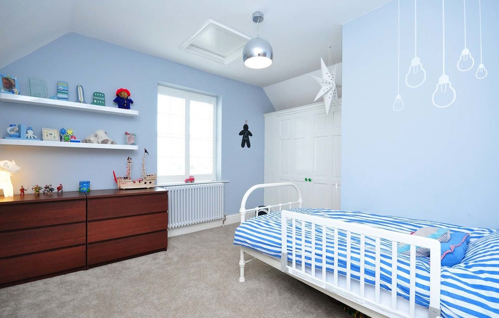 striped bedding Kids Contemporary with blue Blue bedroom Boy's Bedroom boys bedroom carpeting chrome cool boy bedroom