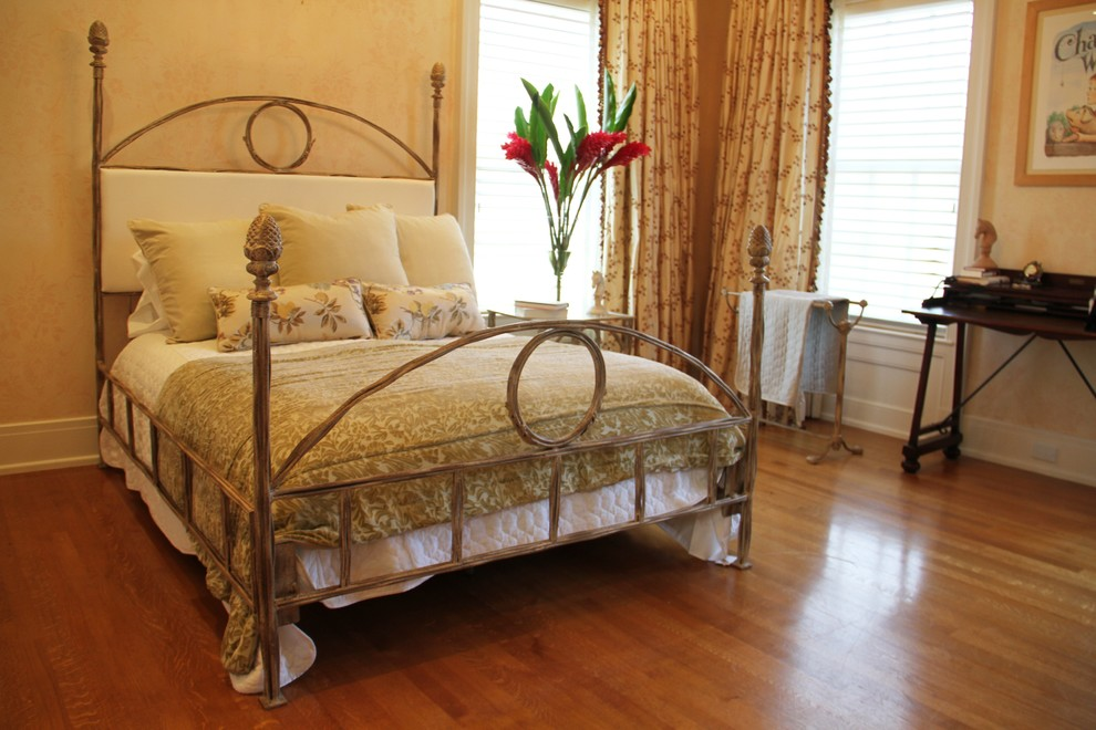 Striped Bedding Spaces with Iron Bed with Wreath Iron Twiggy Bed with Acorn Finials Upholstered Iron