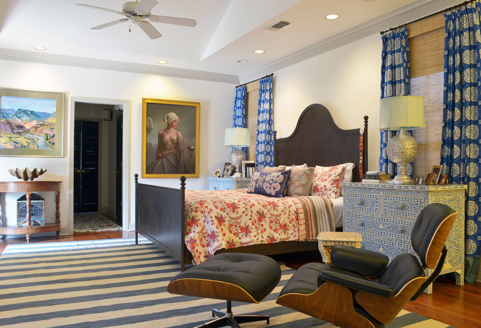 Striped Rugs Bedroom Eclectic with Art Bedding Blue Bold Bone Inlay Ceiling Fan Color Curtains Dresser Eames
