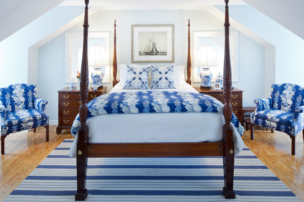 Striped Rugs Bedroom Traditional with Blue and White Dark Stained Wood Delftware Four Poster Bed Light Blue