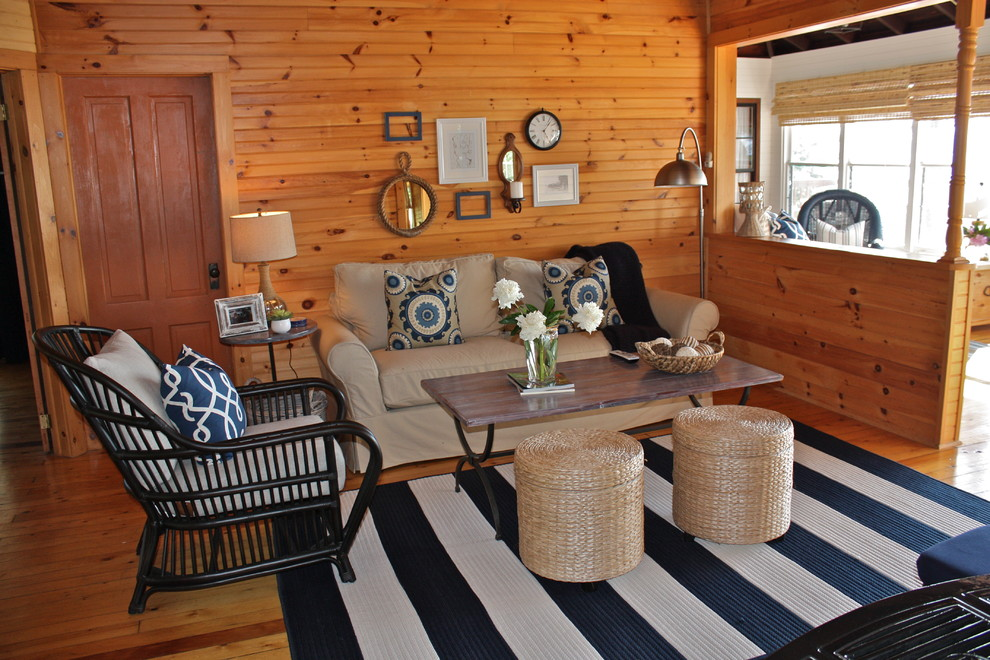 striped rugs Living Room Traditional with beige sofa black side chair collage cottage cozy floor lamp half wall