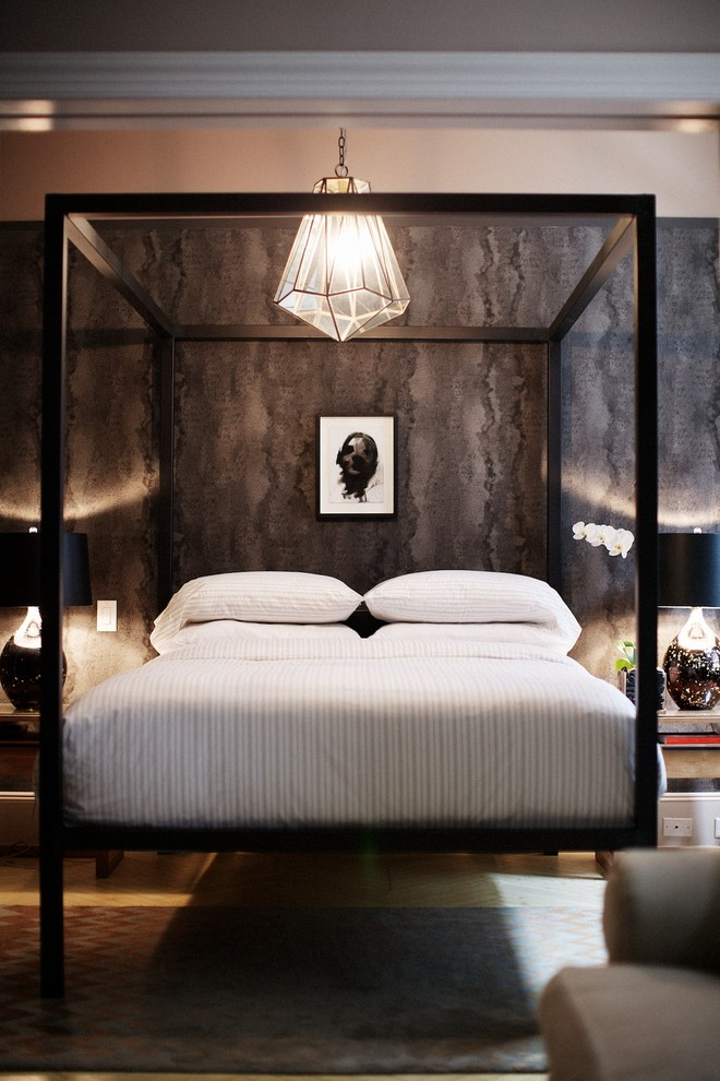 Striped Sheets Bedroom Contemporary with Arteriors Flatiron District Id 810 Design Group Industrial Chic Light Wood Floors