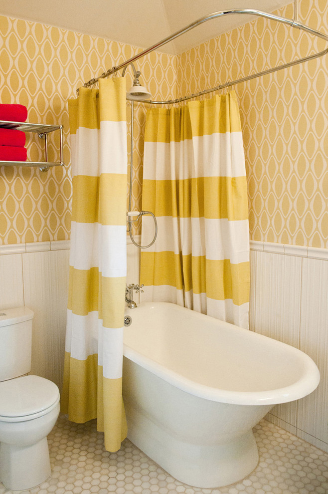 Striped Shower Curtain Bathroom Contemporary with Austin Beadboard Colorful Funky Gold Hex Hexagon Tile Mid Century Modern Monochromatic Pedestal