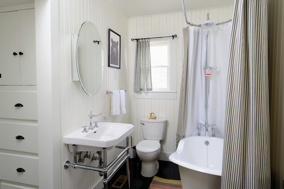 Striped Shower Curtain Bathroom Eclectic with Bathroom Mirror Beadboard Built Ins Claw Foot Claw Foot Tub Cottage Dark Floors Freestanding