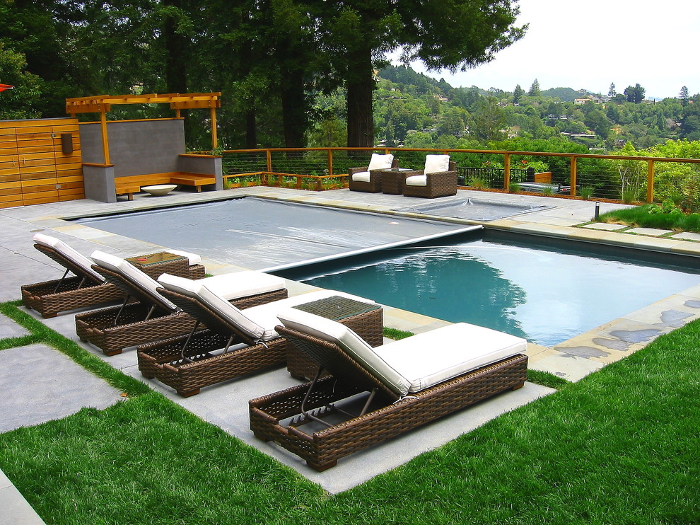 Stroller Covers Pool Modern with Bench Building on a Slope Concrete Concrete Patio Fence Fire Pit Fire