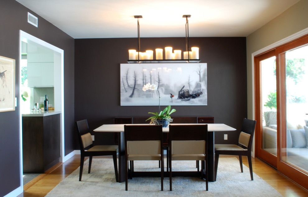 Stylecraft Lamps Dining Room Eclectic with Bamboo Floor Custom Made Dark Walls Dining Rug Hemp Rug Leather Chair Mid