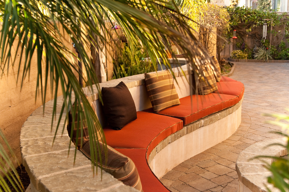 sunbrella replacement cushions Patio Mediterranean with built in bench decorative pillows outdoor cushions palm trees patio furniture pavers
