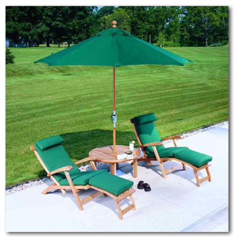 Sunbrella Umbrella Patio Traditional with Sunbrella 4600 Erin Green Sunbrella Umbrella with Adirondack Deck Chairs
