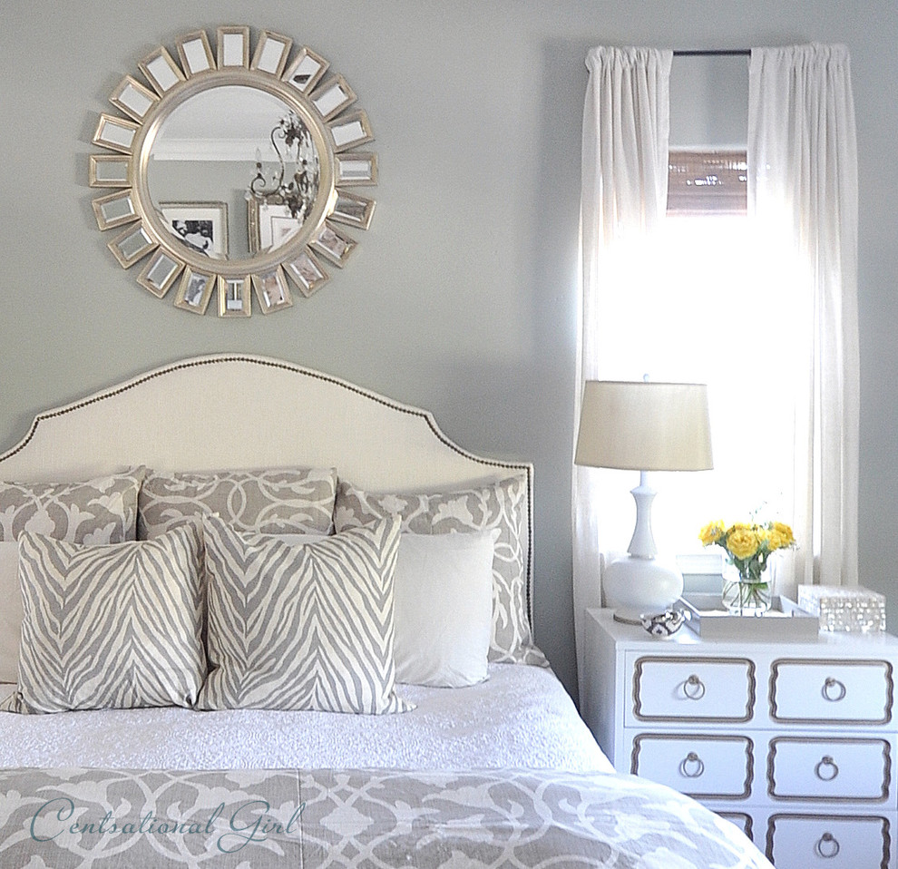 Sunburst Mirror Bedroom Traditional with Dorothy Draper Elegant Gray Bedding Master Bedroom Starburst Mirror Sunburst Mirror