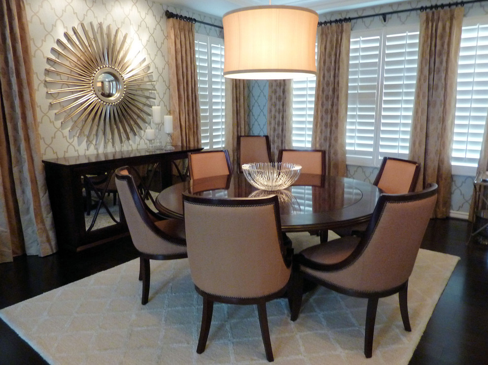 Sunburst Mirror Dining Room Traditional with Area Rug Curtains Dark Floor Drapes Drum Pendant Mirrored Furniture Plantation Shutters